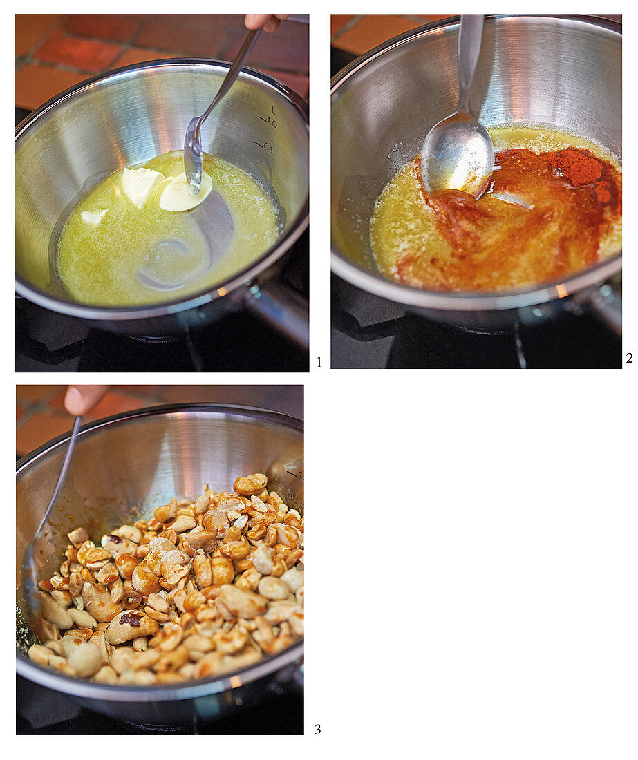 Spiced honey-glazed nuts being made