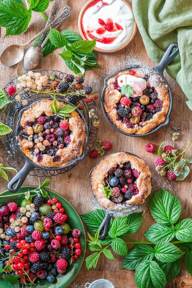 Berry skillet pies