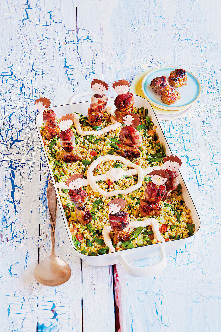 Lamb and apricot kebabs with tabbouleh (football-style)