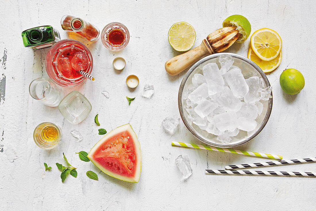 An arrangement of ingredients for alcoholic drinks