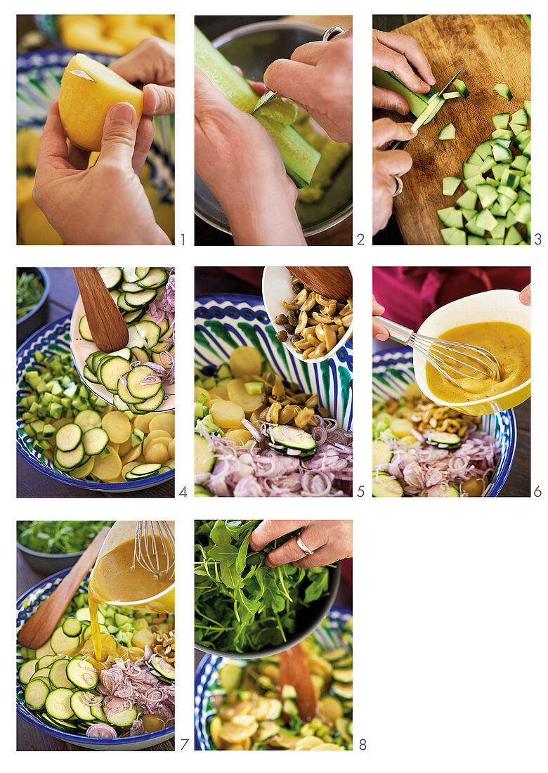 Potato salad with cucumber, courgette and rocket being made