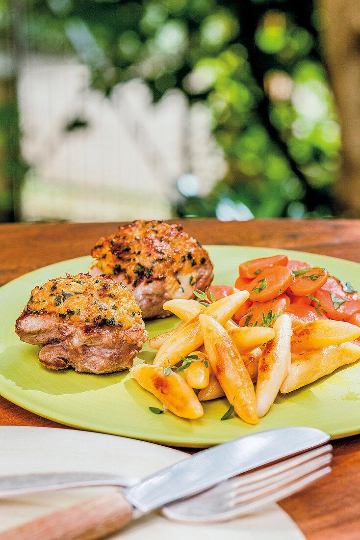 Gratinated pork fillet with cauliflower mushrooms and alpine cheese