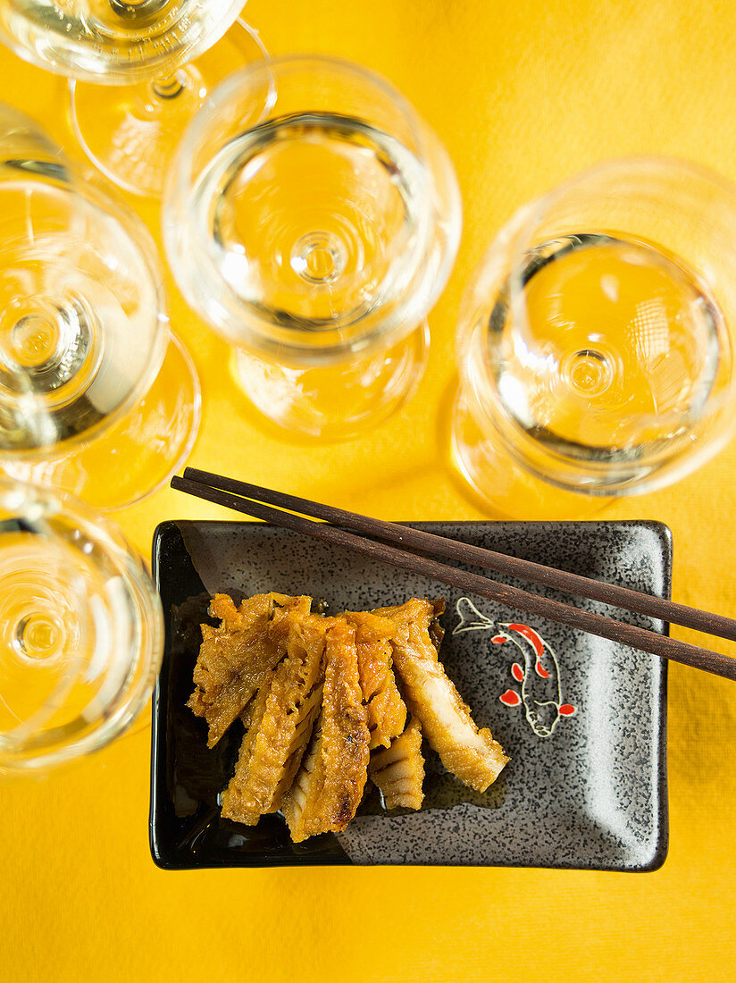 Fried and marinated Chinese rose fish