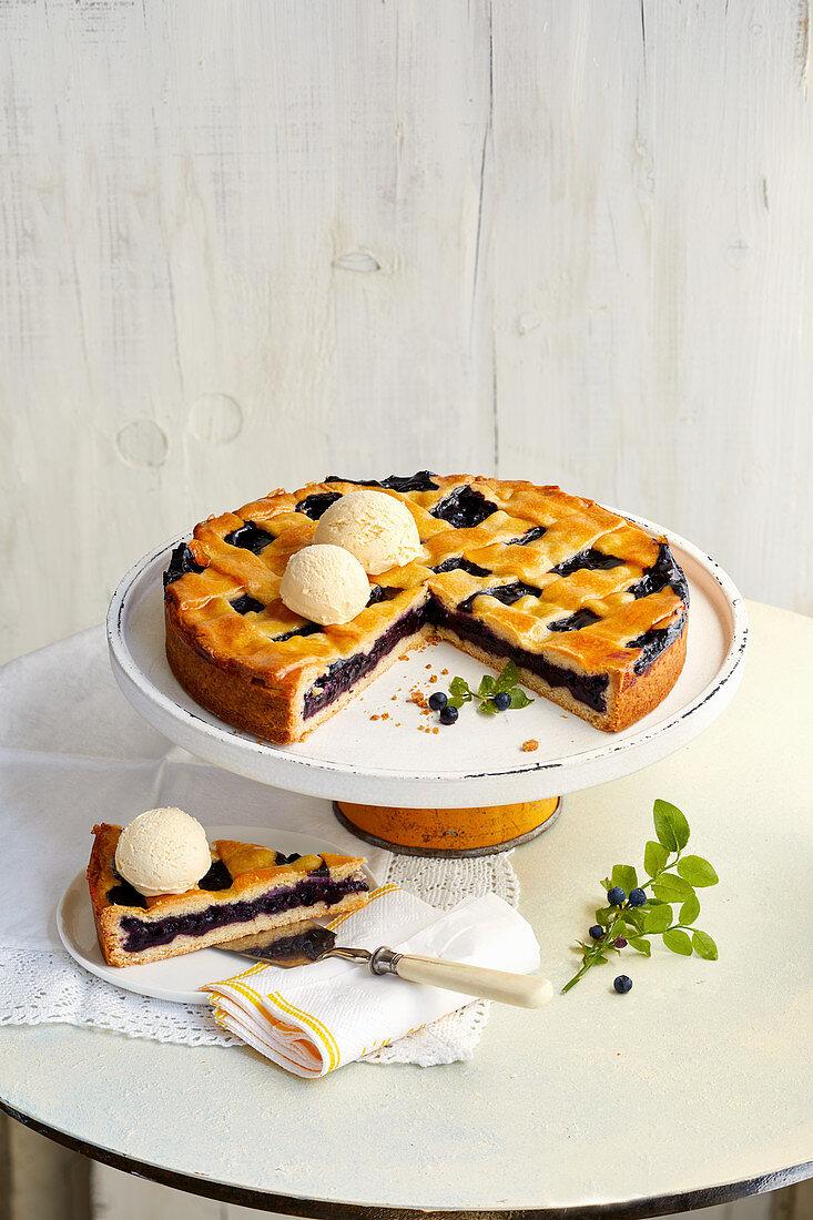 Swedish blueberry tart with vanilla ice cream