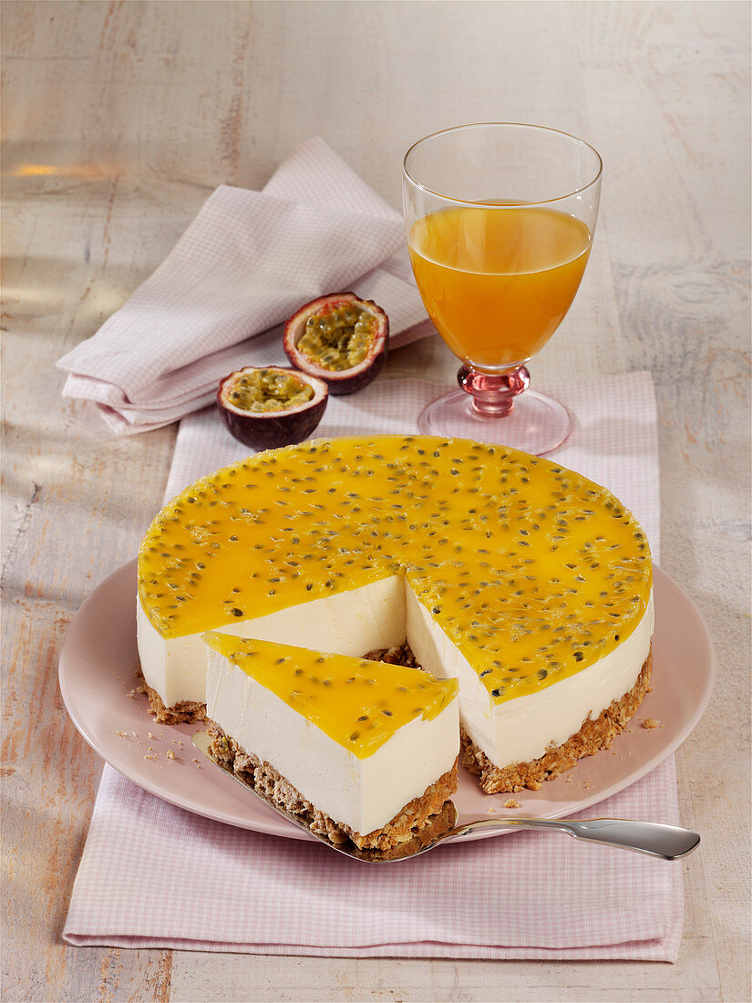 Yoghurt cake with a passion fruit topping