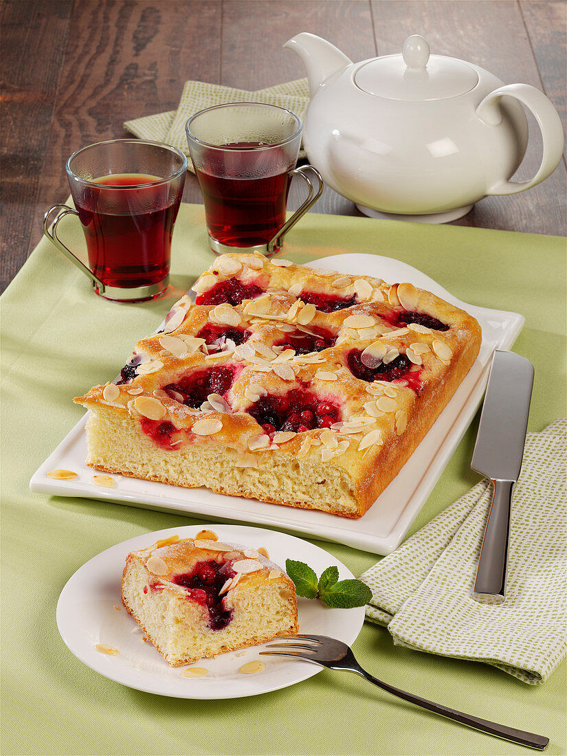 Red berry compote butter cake