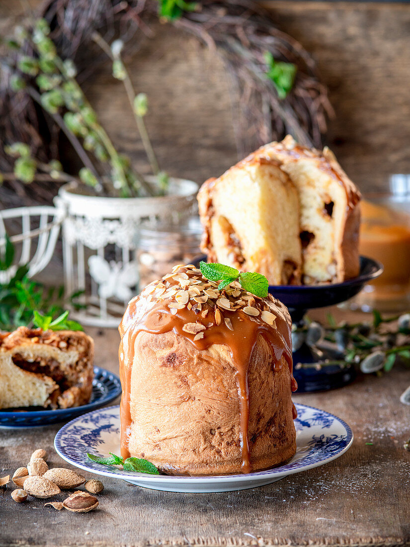 Easter cake kulich with almonds and caramel
