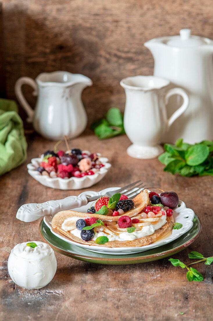 Oatmeal pancake with yogurt