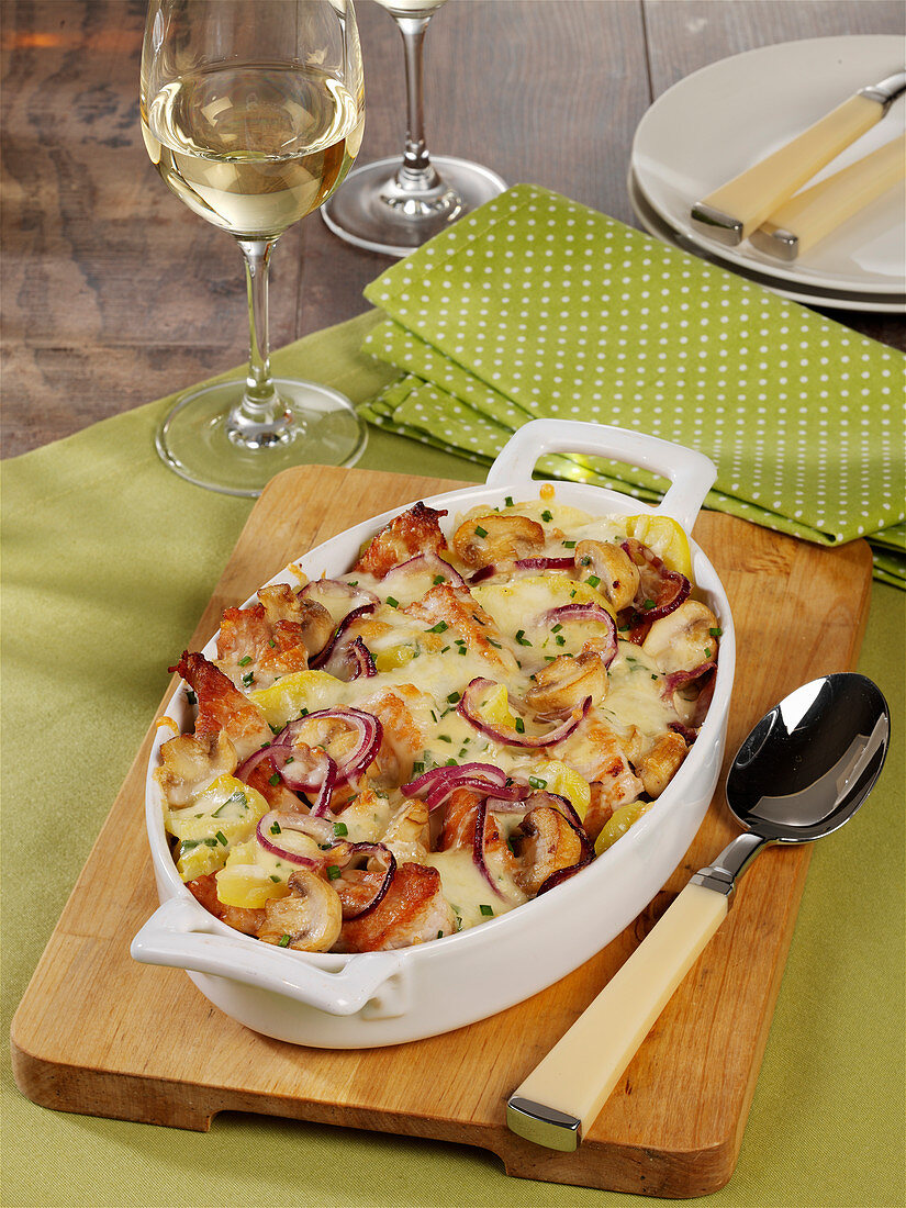 Turkey escalope bake with potatoes and mushrooms