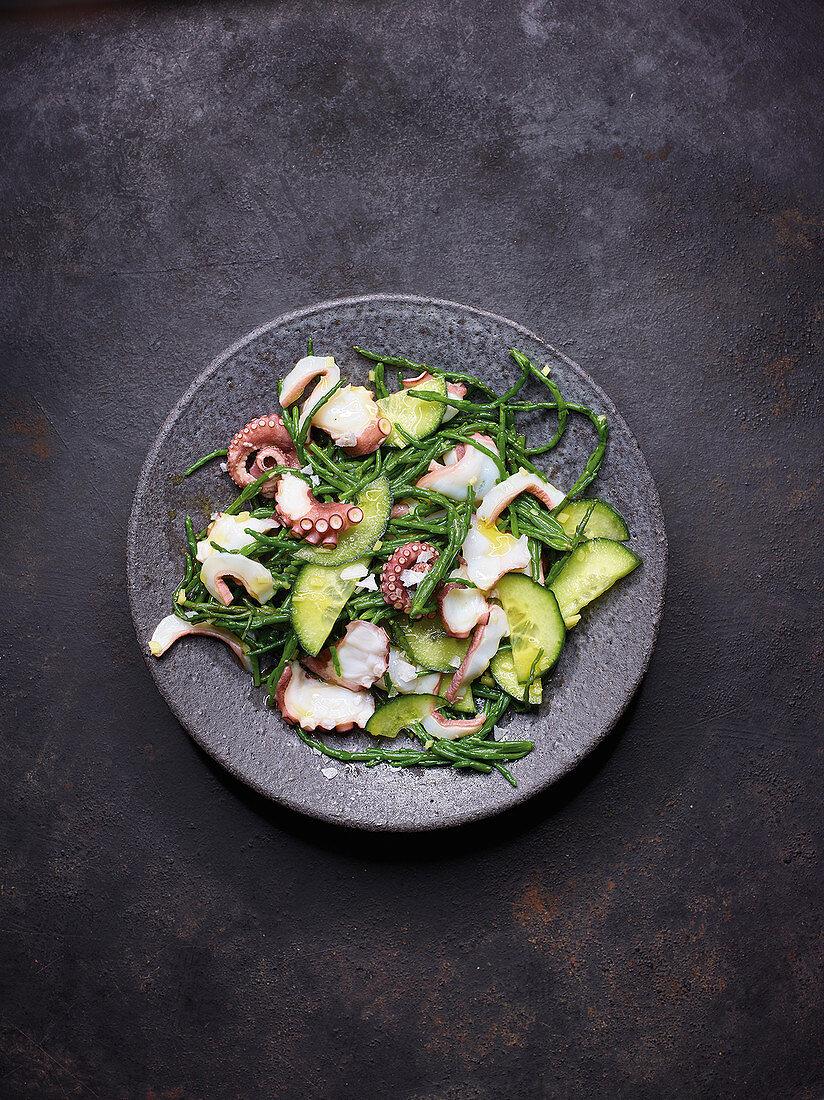 Octopus salad with algae and cucumber