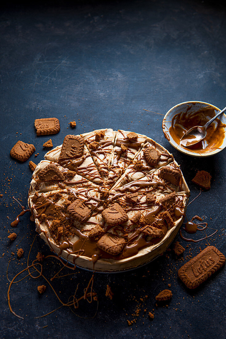 Cheesecake made with cream cheese and biscoff spraed, with crushed biscuits