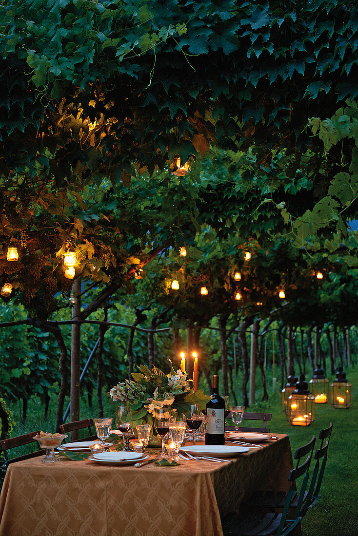 Evening table scene in Italy