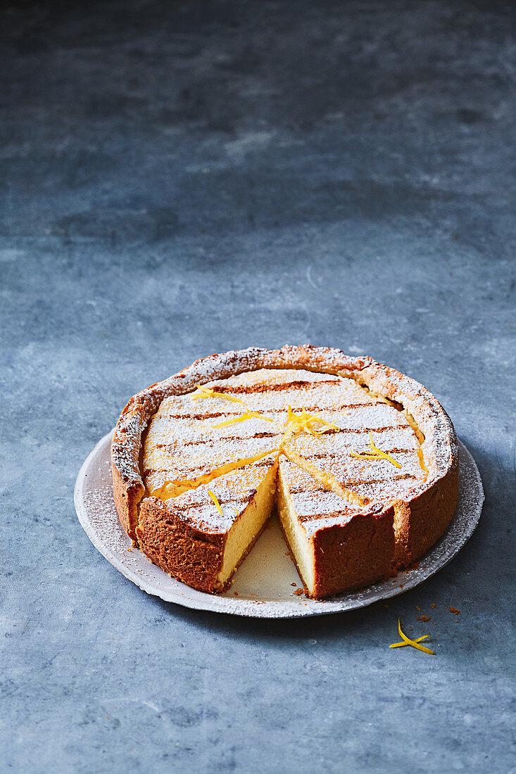 Baked lemon cheesecake pie