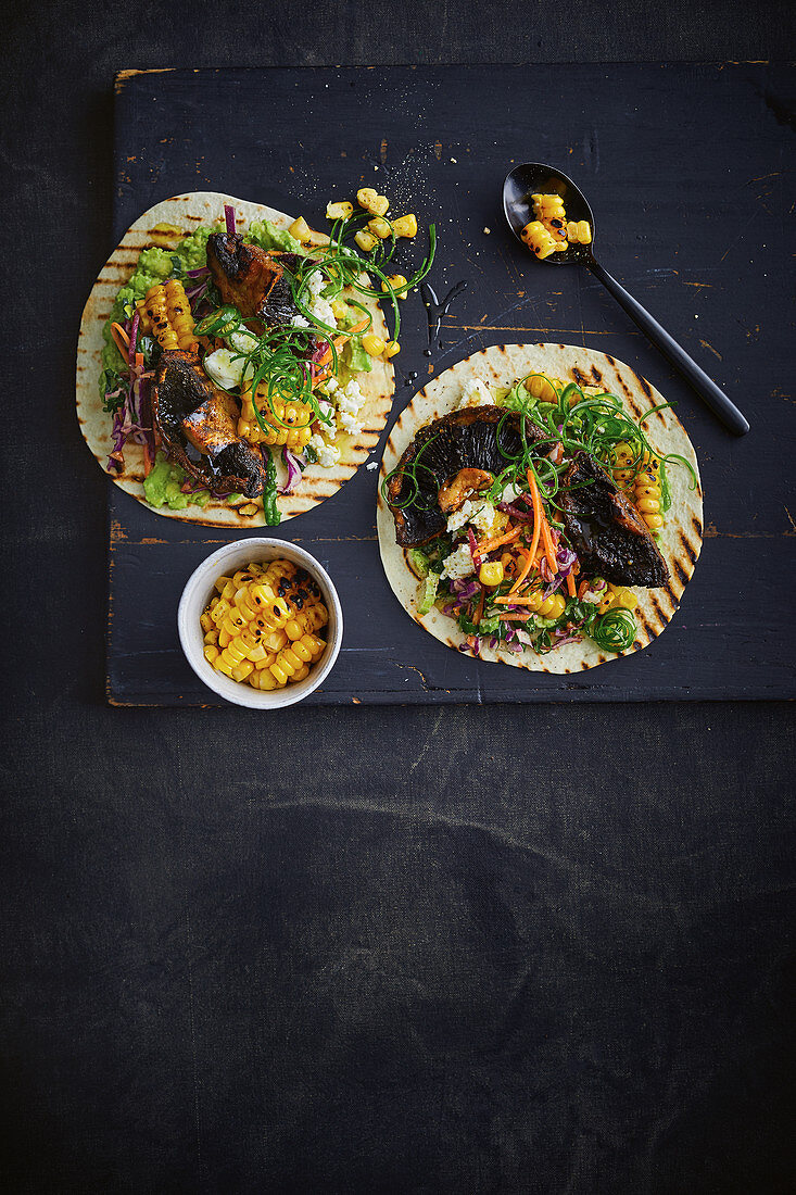 Mexican mushroom tacos with lime-spiked avocados
