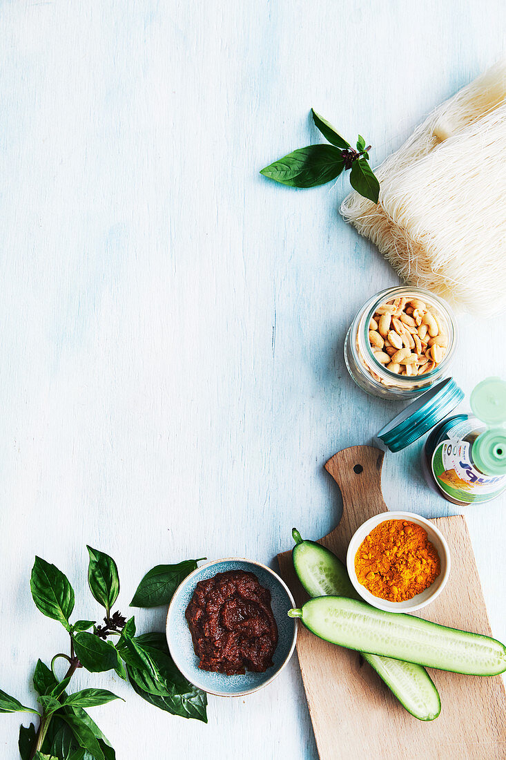 Ingredients for satay chicken noodles