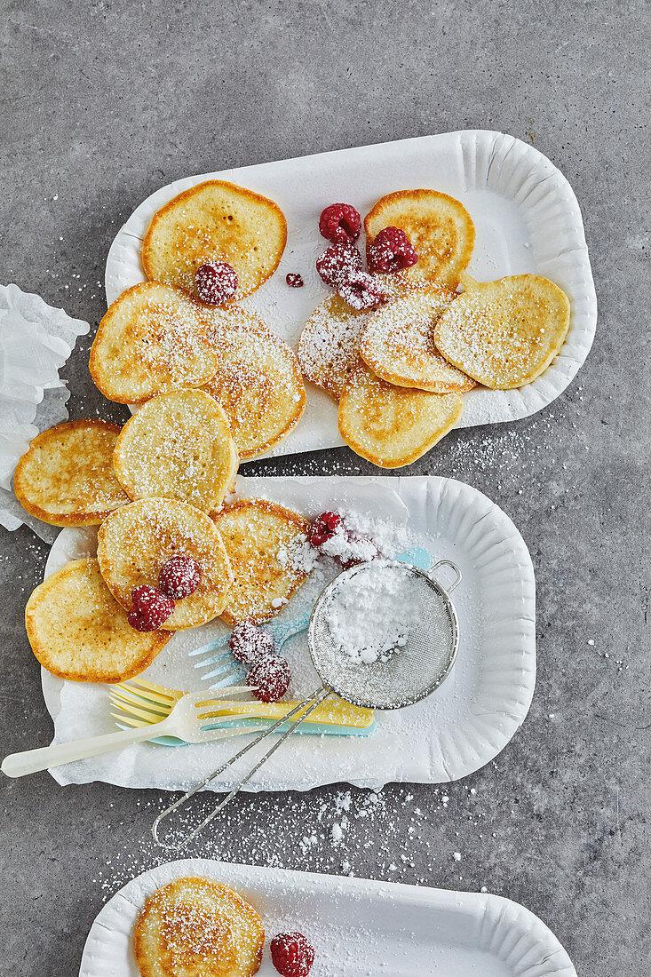 Poffertjes with raspberries