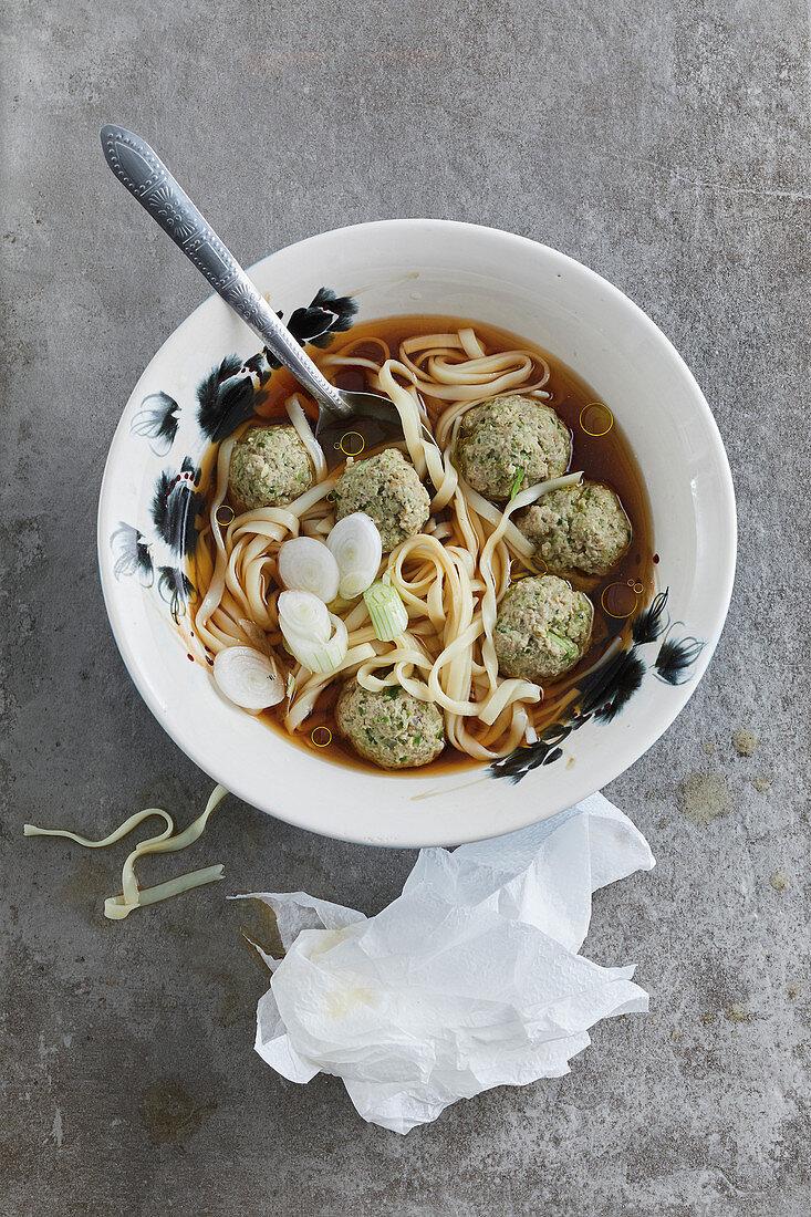 Spicy won-ton noodle soup with meat dumplings