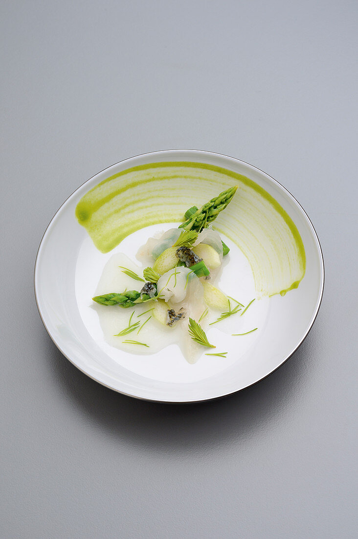 Hake with spruce shoots, green asparagus and yoghurt whey