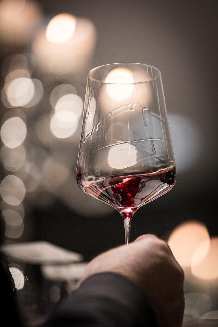 Red wine being swirled