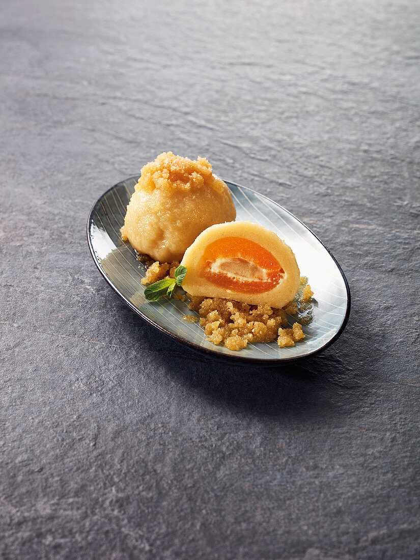 Quark dumplings with an apricot and marzipan filling