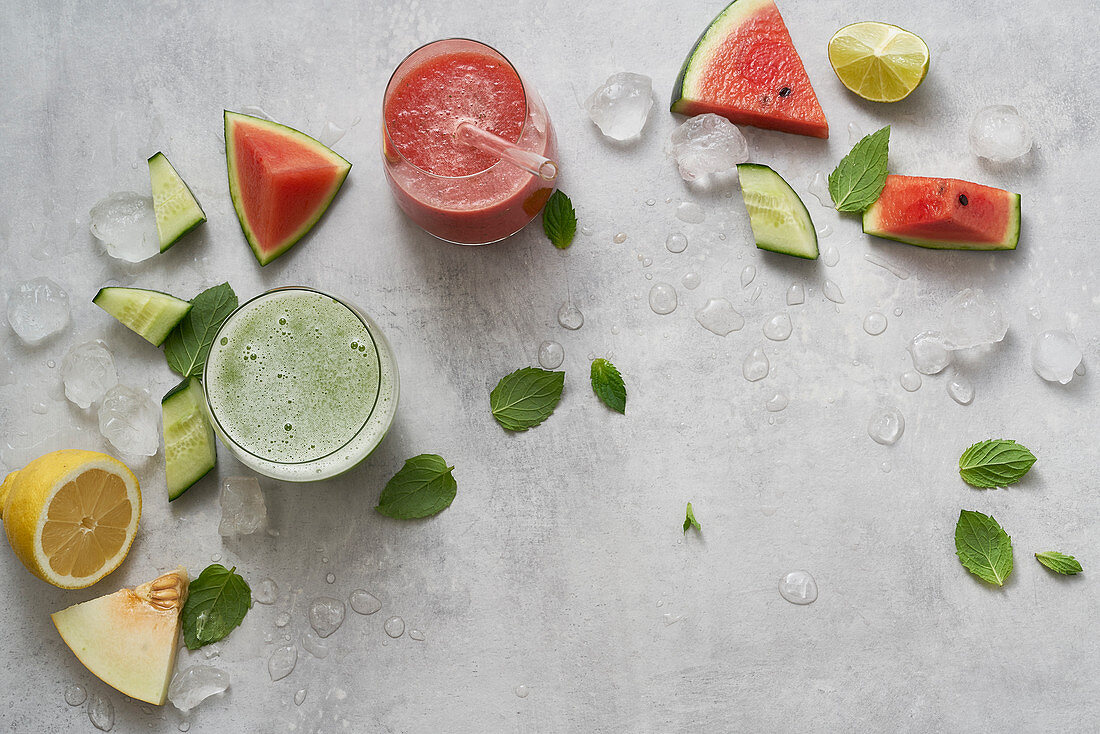 Melon and mint cooler and a watermelon smoothie