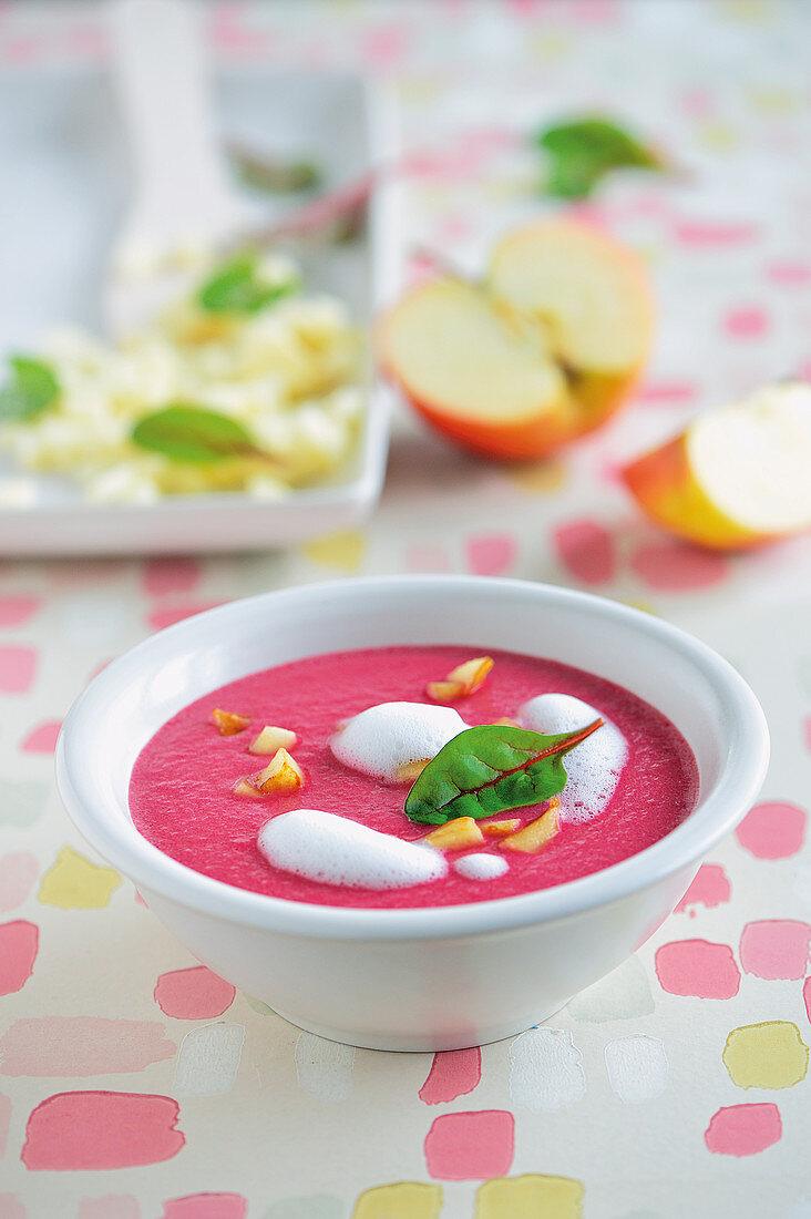Beetroot soup with seasalt foam