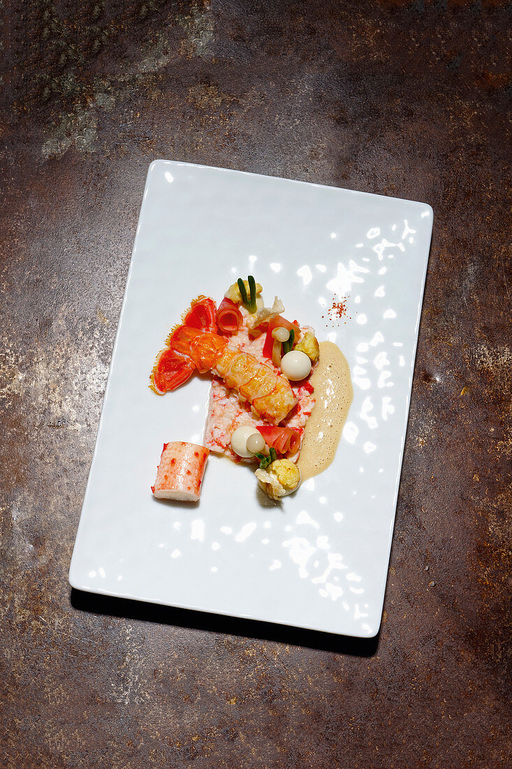Norway lobster and king crab with variations of cauliflower
