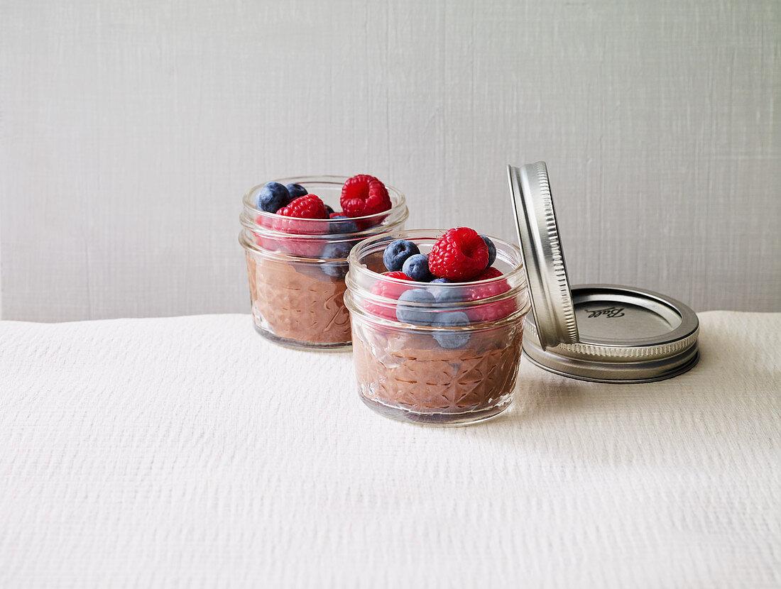 Quick silken tofu mousse with raspberries