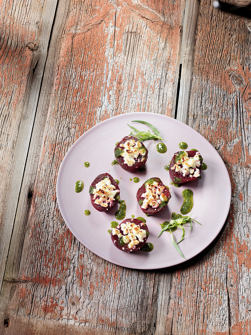 Beetroot made in a Beefer with feta cheese and tarragon oil