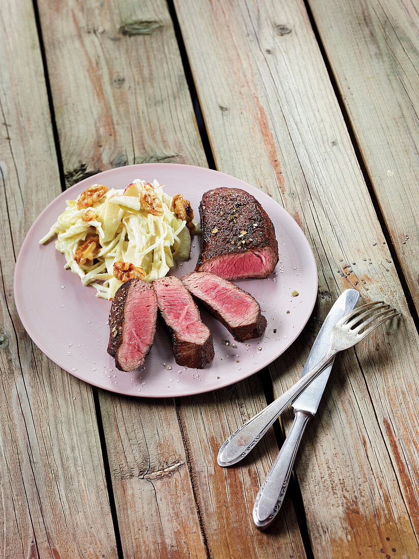 US rump cap made in a Beefer with an apple and celery salad