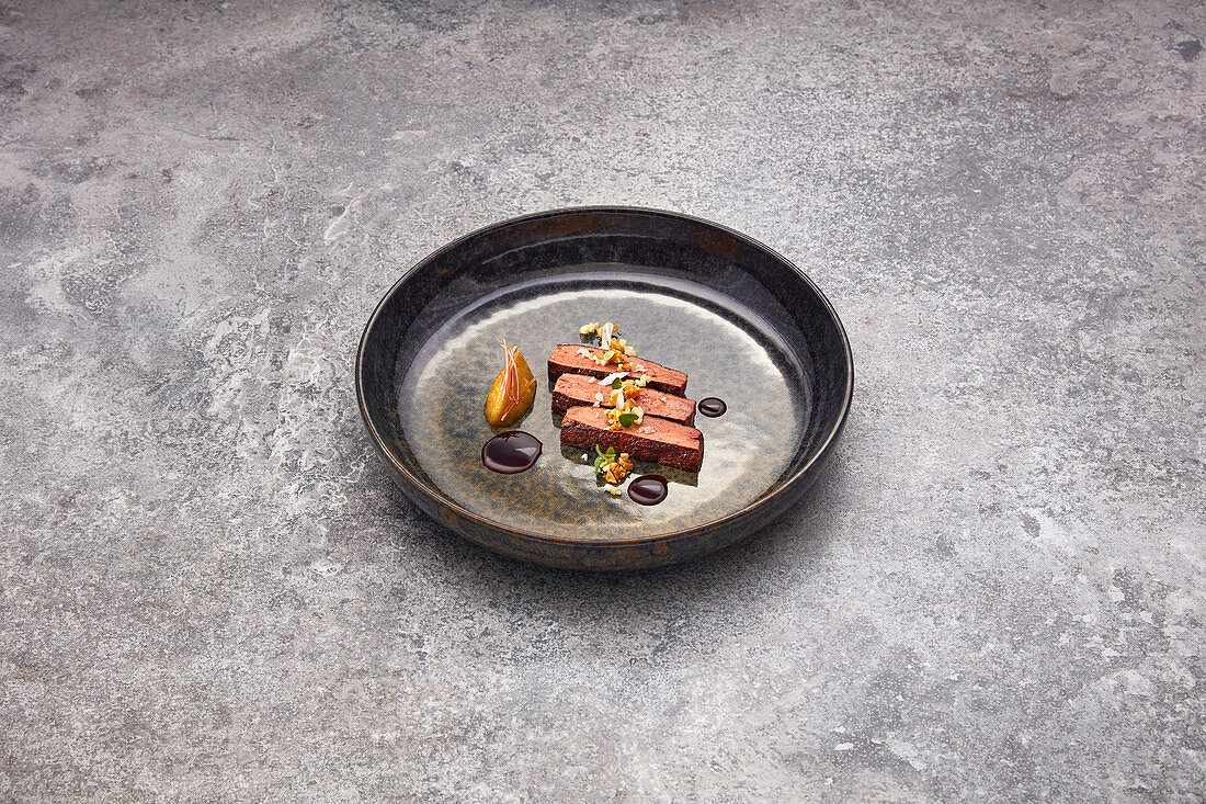 Veal liver with miso almonds, fermented apple and veal jus