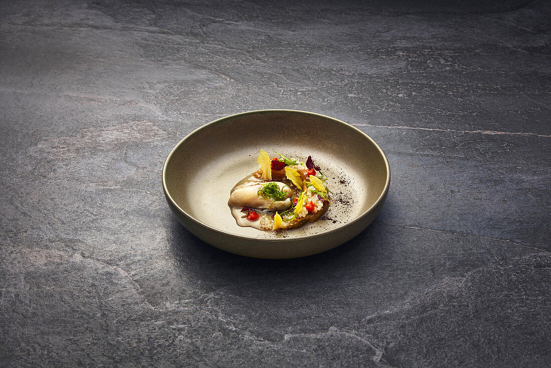 Oyster with fermented cos lettuce and pepper