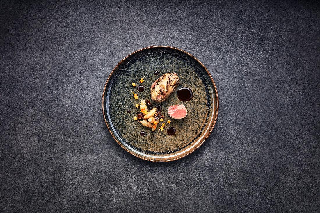 Pigeon with shiitake mushrooms, persimmon and crosne