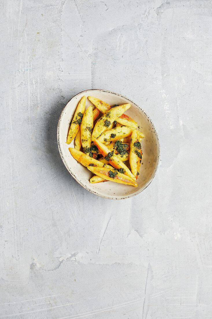 Potato orzo pasta with pesto