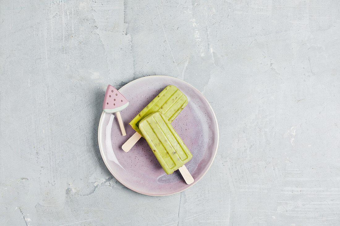 Vegan avocado ice cream sticks