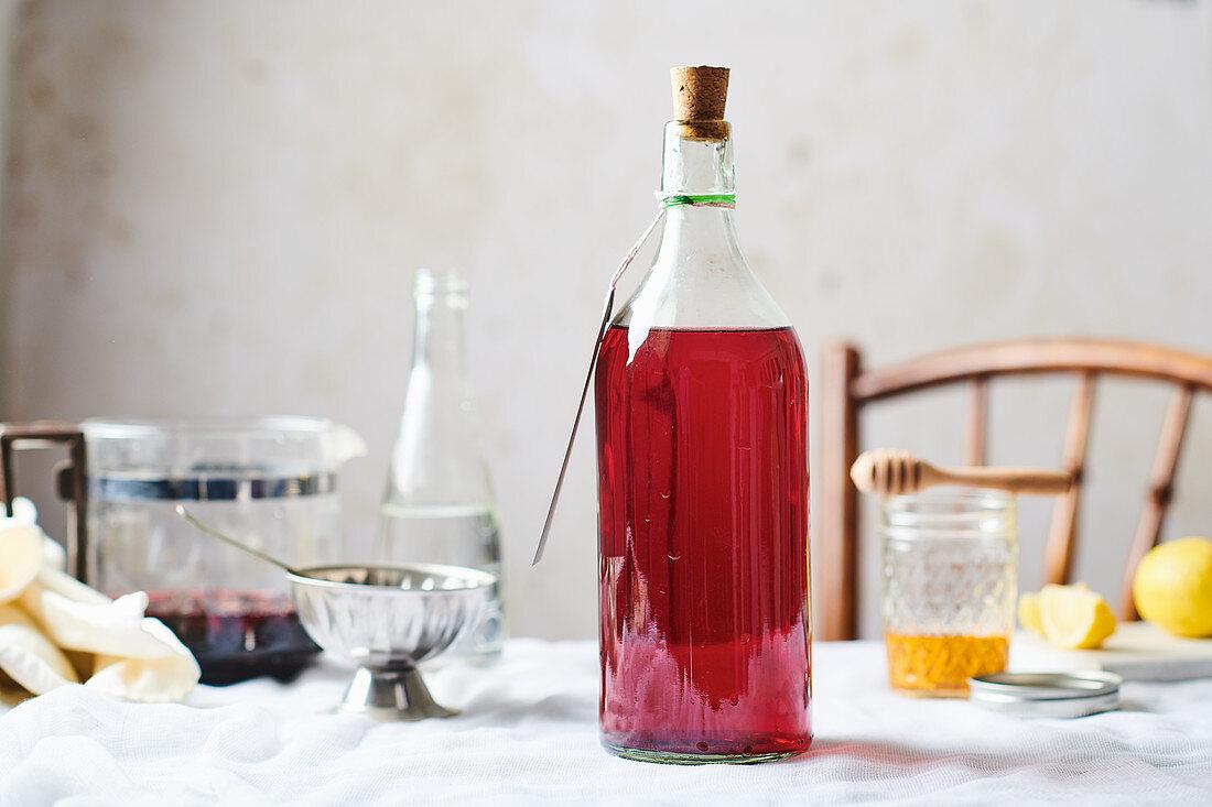 Homemade fruit juice in a bottle