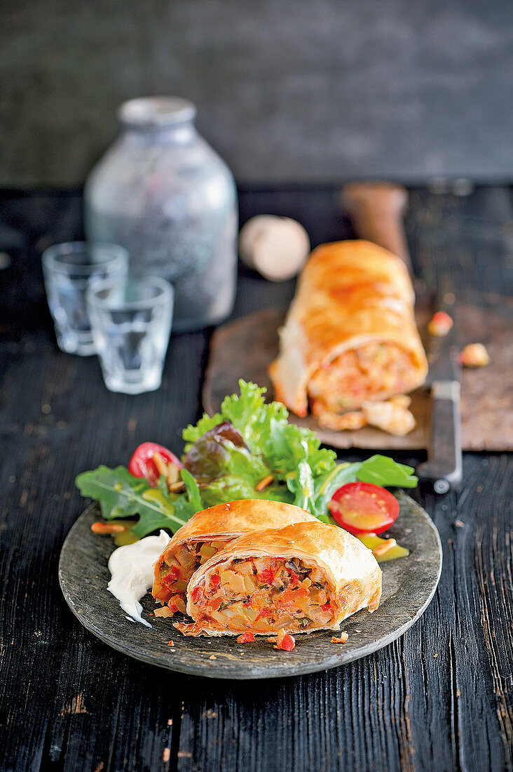 Vegetable strudel with goat cream cheese