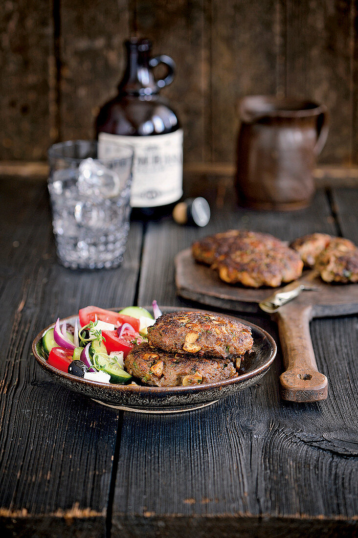 Lamb burgers with farmer's salad