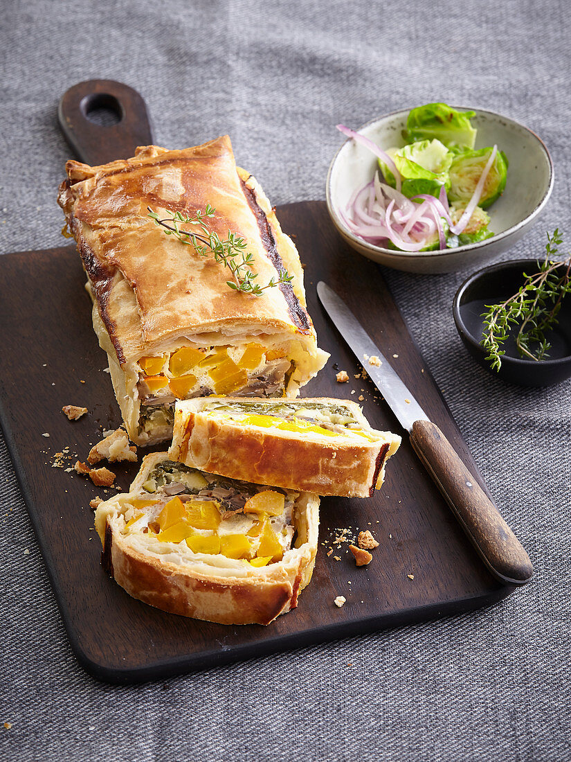 Terrine with pumpkin, spinach and mushrooms