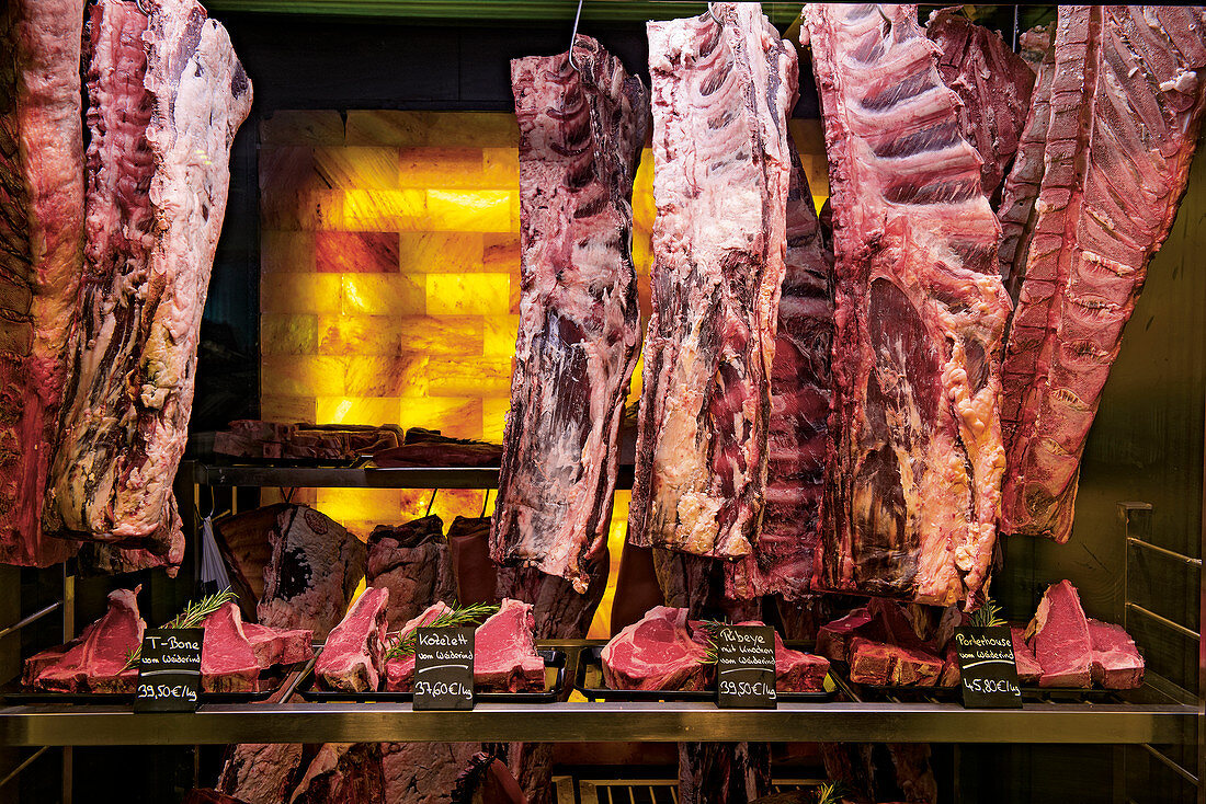 Meat in a salt cold store