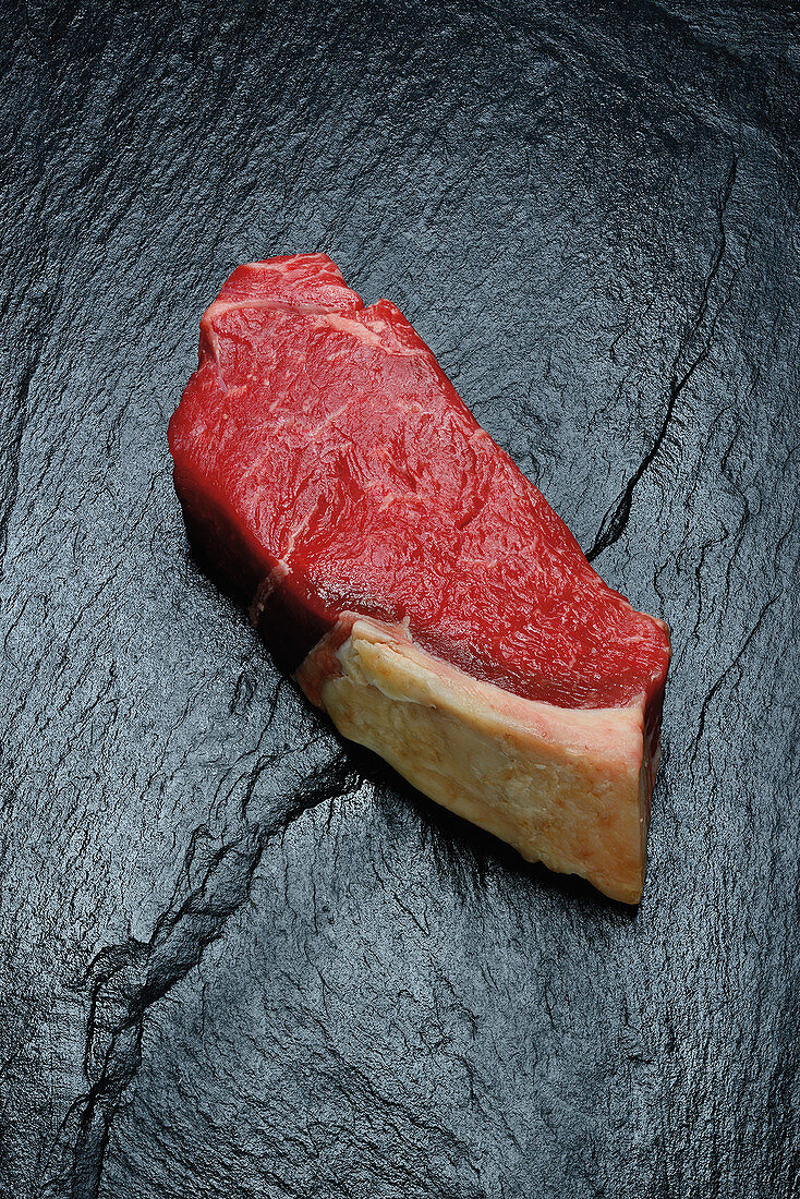 Raw dry aged rump steak