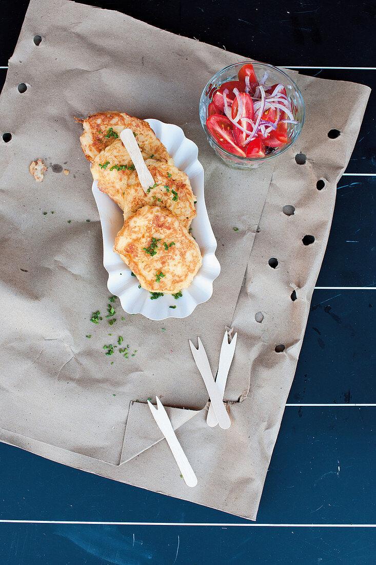Potato and mozzarella fritters