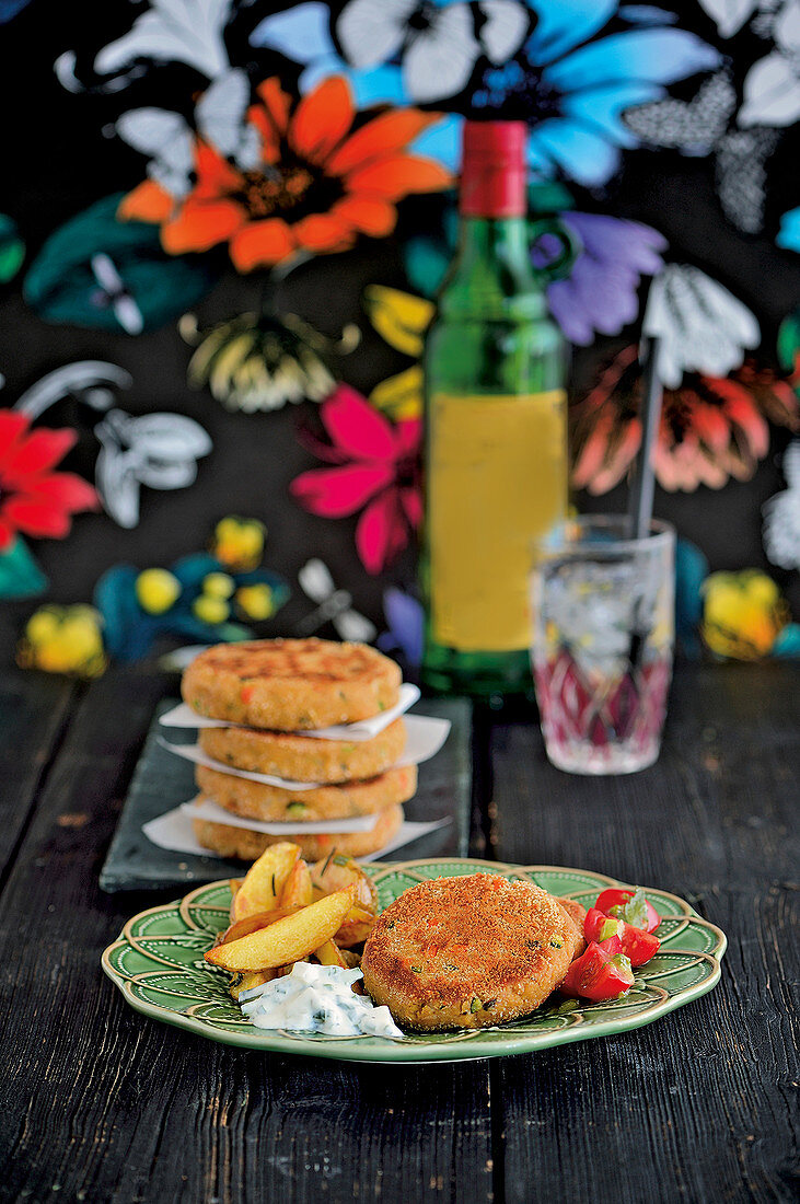 Veggie patties made from vegetables, polenta and chickpeas