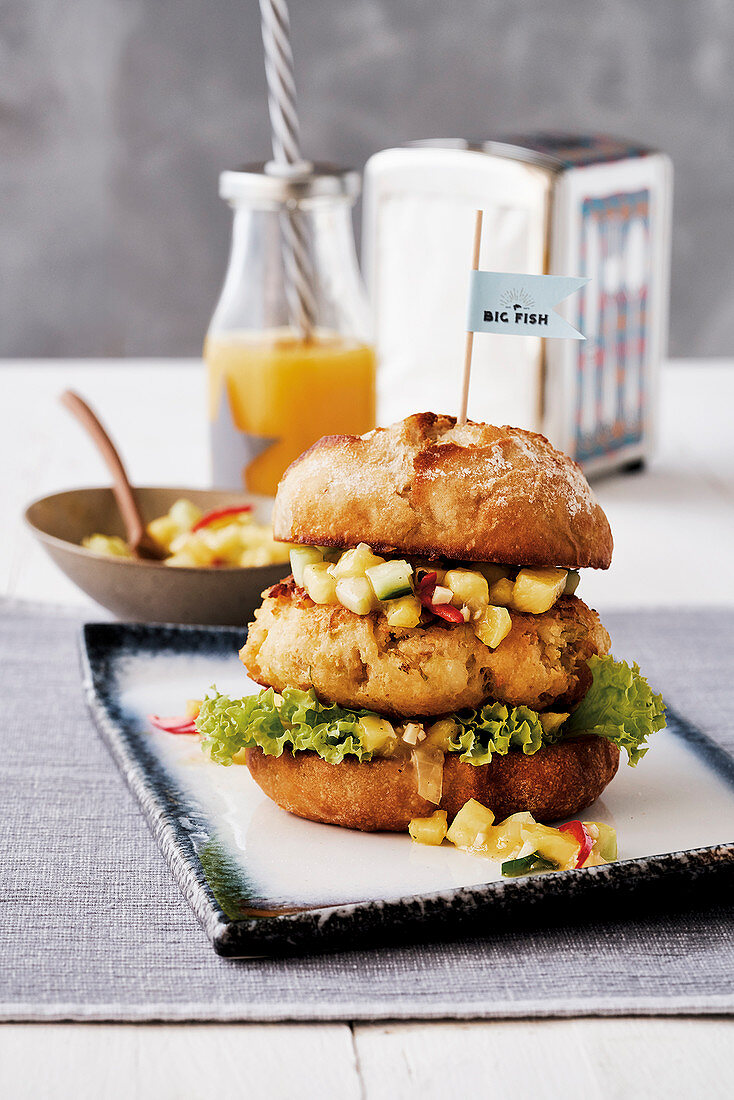 Fish burger with cucumber relish