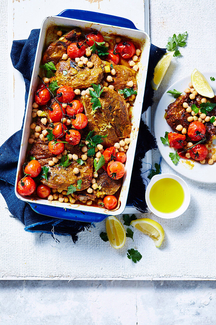 Paprika lamb and chickpea tray bake