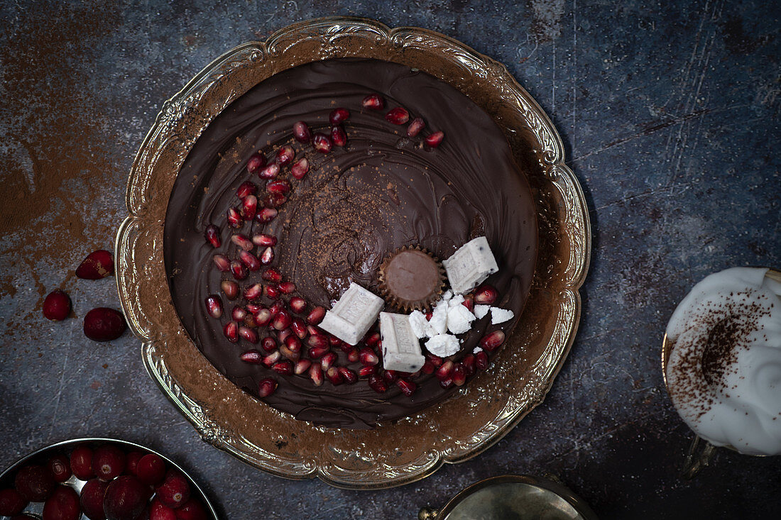 Chocolate cranberry tart