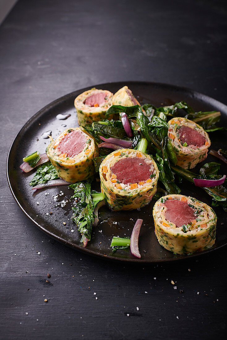 Hare roulade wrapped in herb crêpes
