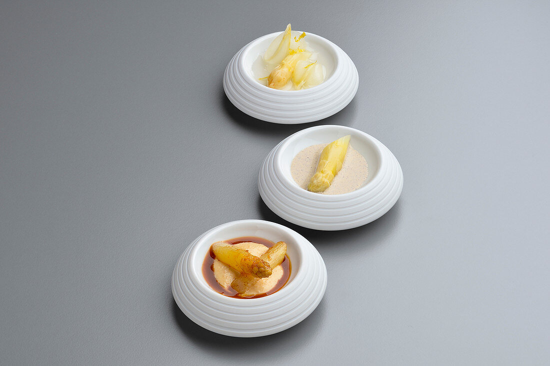 Variations of white asparagus with chicken and coffee jus
