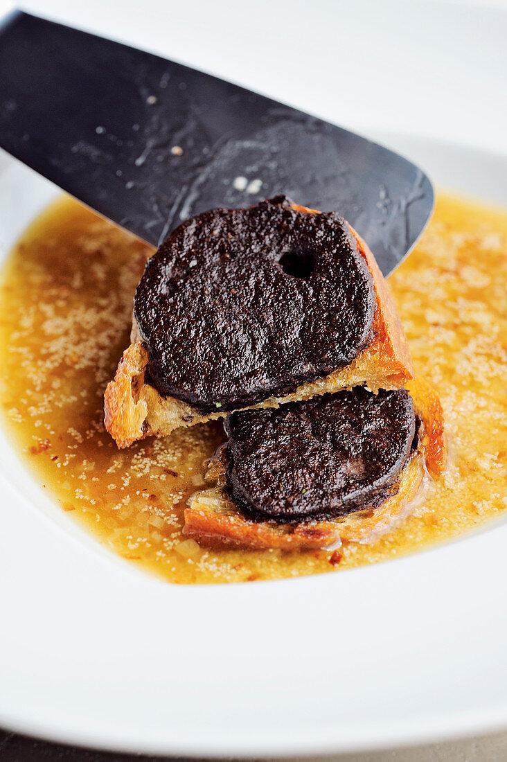 Brennsuppe - burned semolina soup with spleen slices