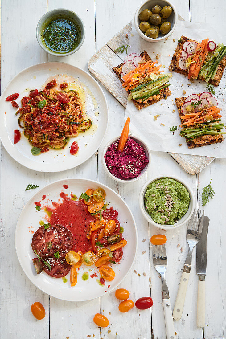Various vegetable dishes